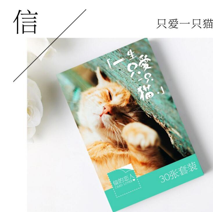30 pcs/pack The Only Cat I Love Greeting Card Postcard Birthday Letter Envelope Gift Card Set Message Card 30 sheets set novelty parallel universe postcard greeting card message card birthday letter envelope gift card