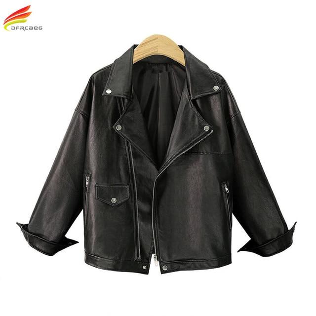 Plus Size Leather Jacket Women Big Size 5XL 2018 Black Turn-down Collar Zipper Casual Euro Fashion Coats FoR Women PU Jackets