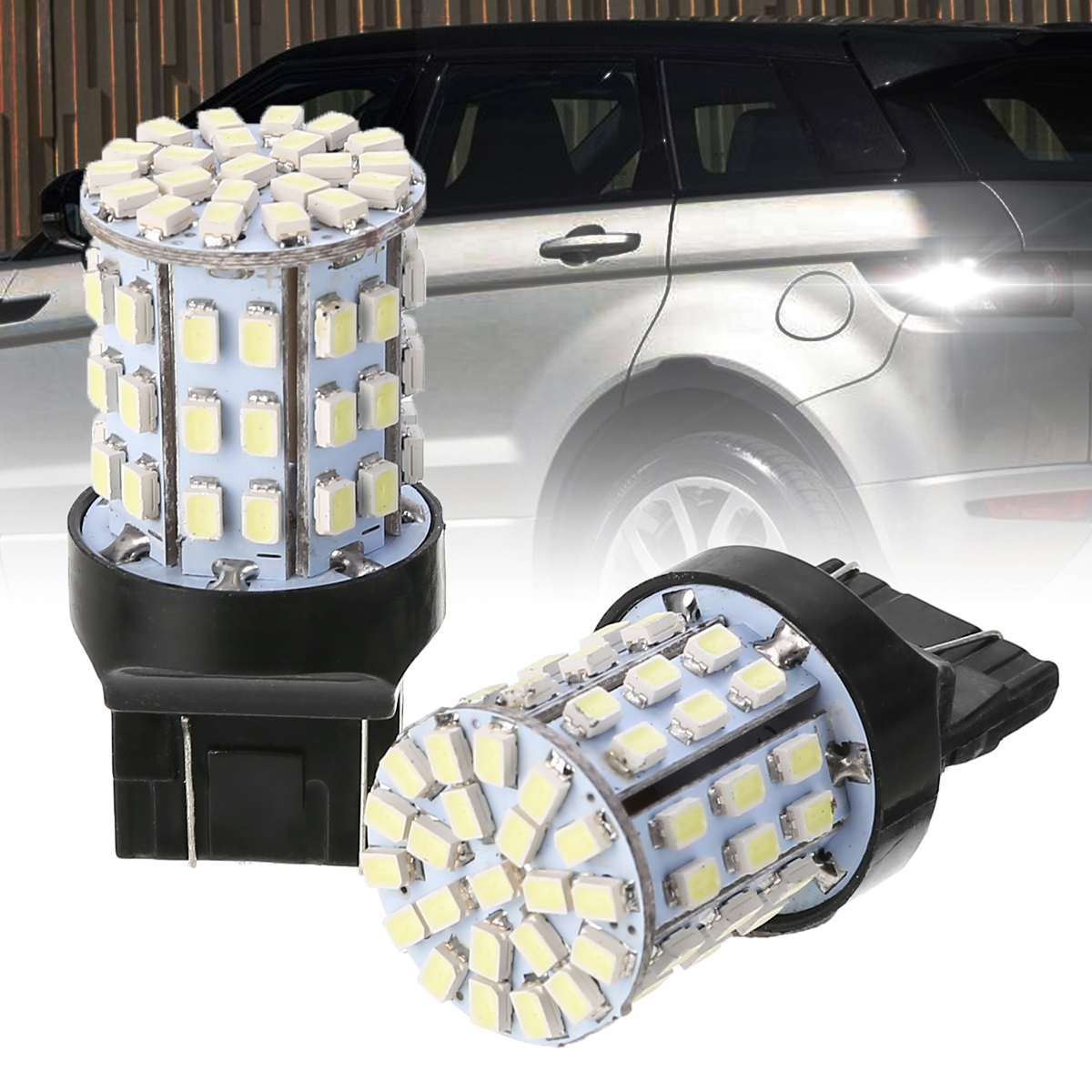 1 Pair W21W 64SMD Car <font><b>LED</b></font> Brake Light <font><b>T20</b></font> 7443 Backup Reserve Lights Stop <font><b>Rear</b></font> <font><b>Bulb</b></font> Auto Turn Signal Lamp image