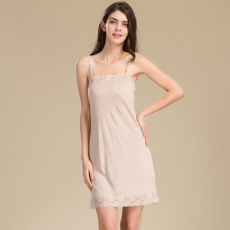 2015 NEW 100/% Silk Pure Silk Knitted Chemise Full Slips Sleepwear