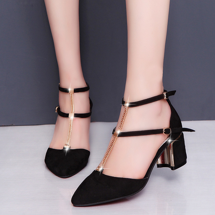 ФОТО  suede personality metal chain with a pair of high heel shoes female 17 spring and summer new hollow single shoes women sandal