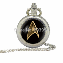 Silver Handmade Star Trek Captain Kirk pocket watches 12pcs/lot Commander Spock locket steampunk necklaces Bridesmaid Gift mens