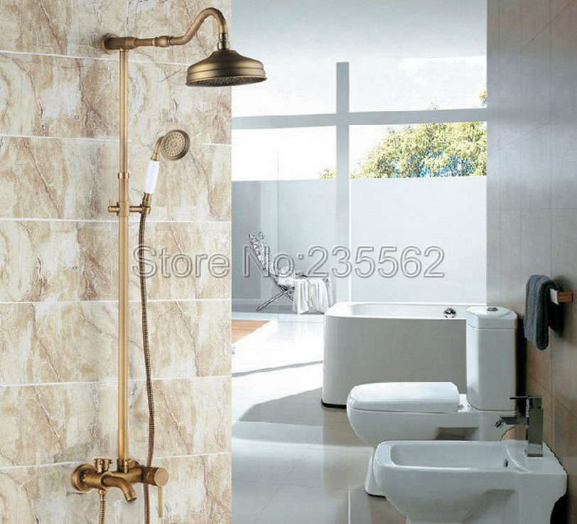 Antique Brass Single Handle Rain Shower Faucet Set Wall Mounted Bathtub Mixer Tap + Rainfall Shower Heads + Hand Spray lrs224