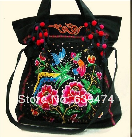 Trend Chinese national style hand embroidery cowboy canvas bag in womens  handbag8 skull bag Free shipping 3f348b353af6a
