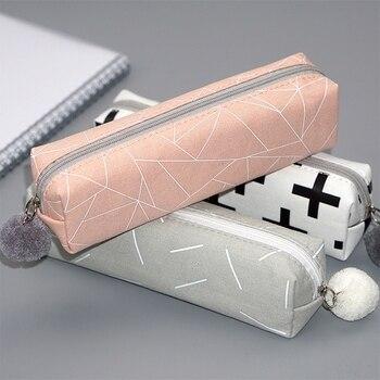 Urijk 1pc Pencil Bag Canvas Storage Pen Pencil Bag School Stationary Tool Pocket Kawaii Makeup Pouch Cosmetics Case Pen Holder