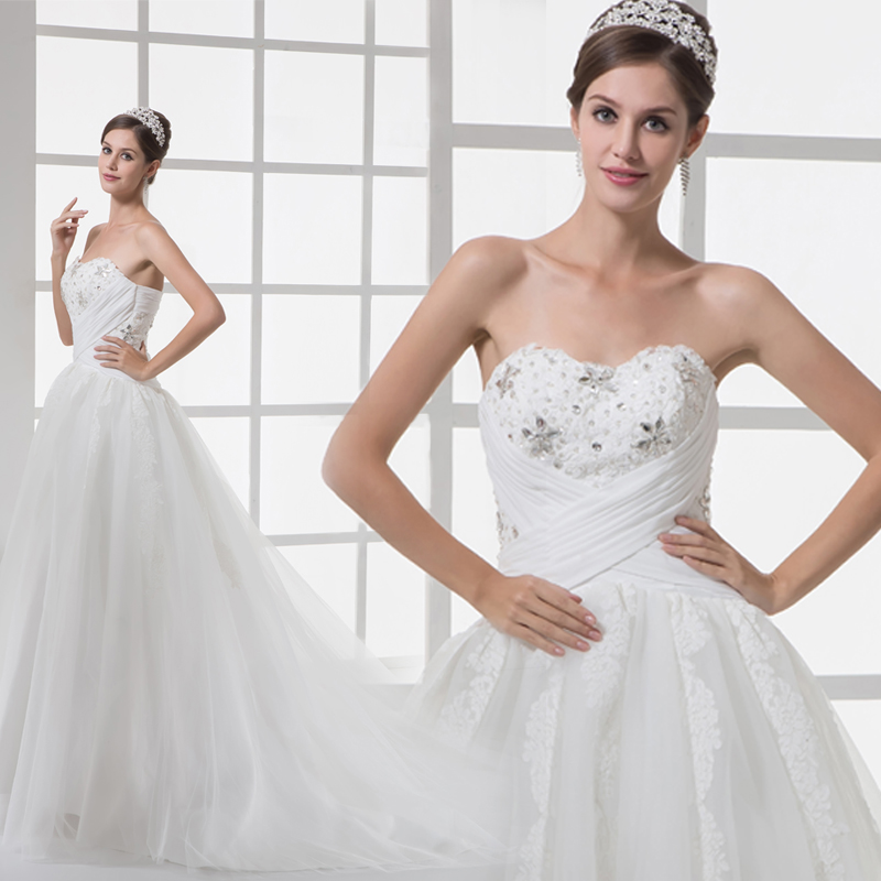 Strapless Evening Gown With Sheer Bodice Covered With: Luxurious Bling Strapless Wedding Dresses Corset Bodice