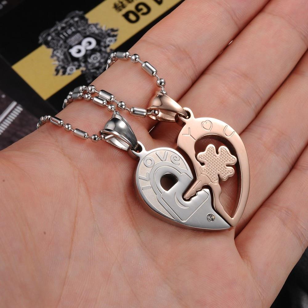Christmas Gift Couple Necklace Titanium Necklaces Pendants Cute ...