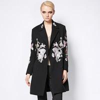 Long Coat 2017 Autumn Winter New Fashion Good Women's Elegant Long Sleeve Animals Owl Embroidery Black Long Jakcet
