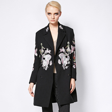 Pre-Sale Long Coat 2015 Autumn Winter New Fashion Runway Womens Elegant Sleeve Animals Owl Embroidery Black Jakcet