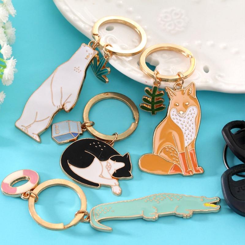 Cute Animal Keychain Dog Black Cat Kitty Bear Crocodile Fox Key Chain Corgi Bulldog Puppy Keyring Accessories Pet Jewelry S3703 Key Chains