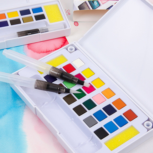 12/18/24/36 Colors Portable Travel Solid Pigment Watercolor Paints Set With Water Color Brush Pen For Painting Art Supplies 4