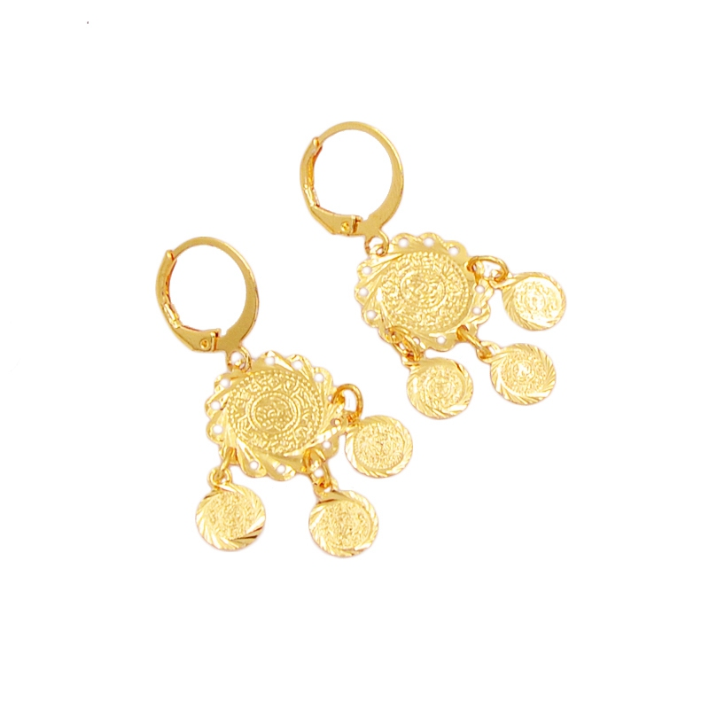 Sophia Store Fashion Women Gold-color Arabic Islamic Religious Metal Coin Middle East Earrings Jewelry Gift