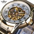 Vencedor 2017 Nova Designer Branco Transparente Ocasional Ouro Esqueleto de Aço Inoxidável Dos Homens Relógios Top Marca de Luxo Relógio Mecânico