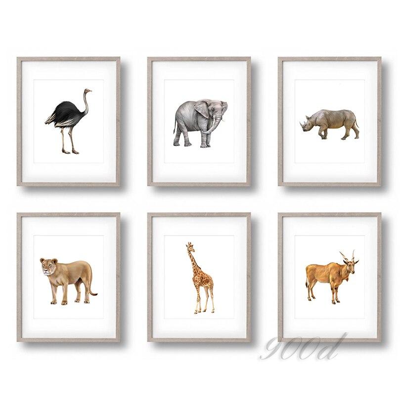 Wild Africa Animals Set Canvas Art Print Painting Poster