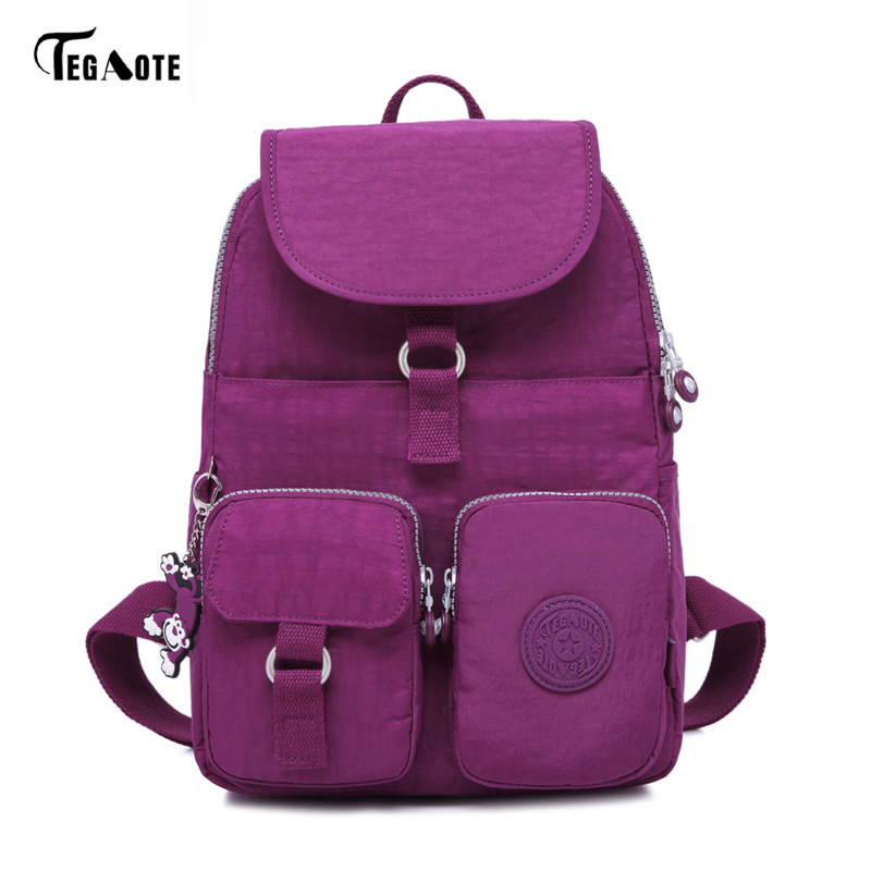 TEGAOTE School Backpack for Teenage Girls Mochila Feminine Backpacks Women Solid Famous Nylon Casual Laptop Bagpack Female 2017 tegaote classic mini school backpack for teenage girls casual backpacks female women brand nylon laptop bagpack shoulder bags