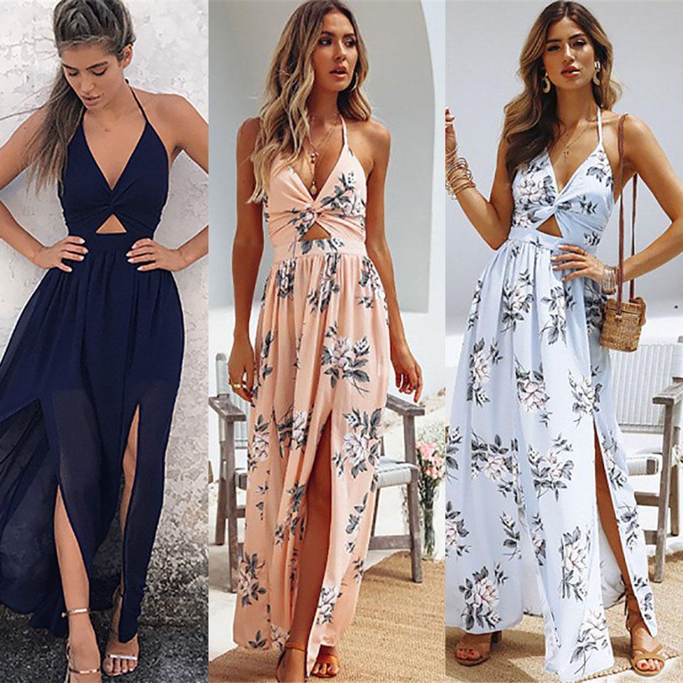 803a1be280385 Summer Halter Bow Female Beach Dress 2019 Spring Ladies Print Chiffon Dress  Casual Sexy Sleeveless Women Long Maxi Sundress