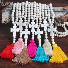 Yumfeel Brand New White Wood Beads Stone Cross Necklace Long Beaded Women Jewelry Gifts