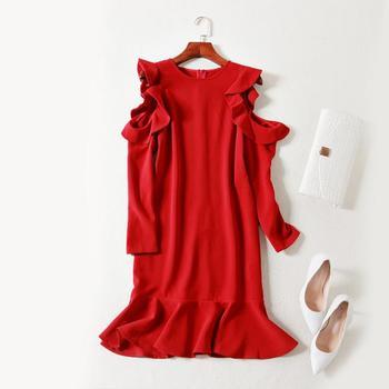9f2875283ea35ed Распродажа Европейский Женская одежда 2018 Новинка весны с длинным рукавом  росы вечернее мини-платье с оборкой на плечах рыбий хвост платье