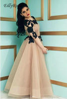 Long Sleeve Champagne Prom Dresses Black Appliques Sheer Neck A Line Tulle Saudi Arabia Evening Gowns for Women vestaglia donna