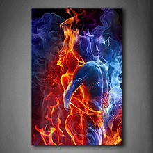 Red Fire Hot Couple Kiss Each Other Blue Yellow Man And Woman Wall Art Painting Picture On Canvas hand painted Home Decor Gift