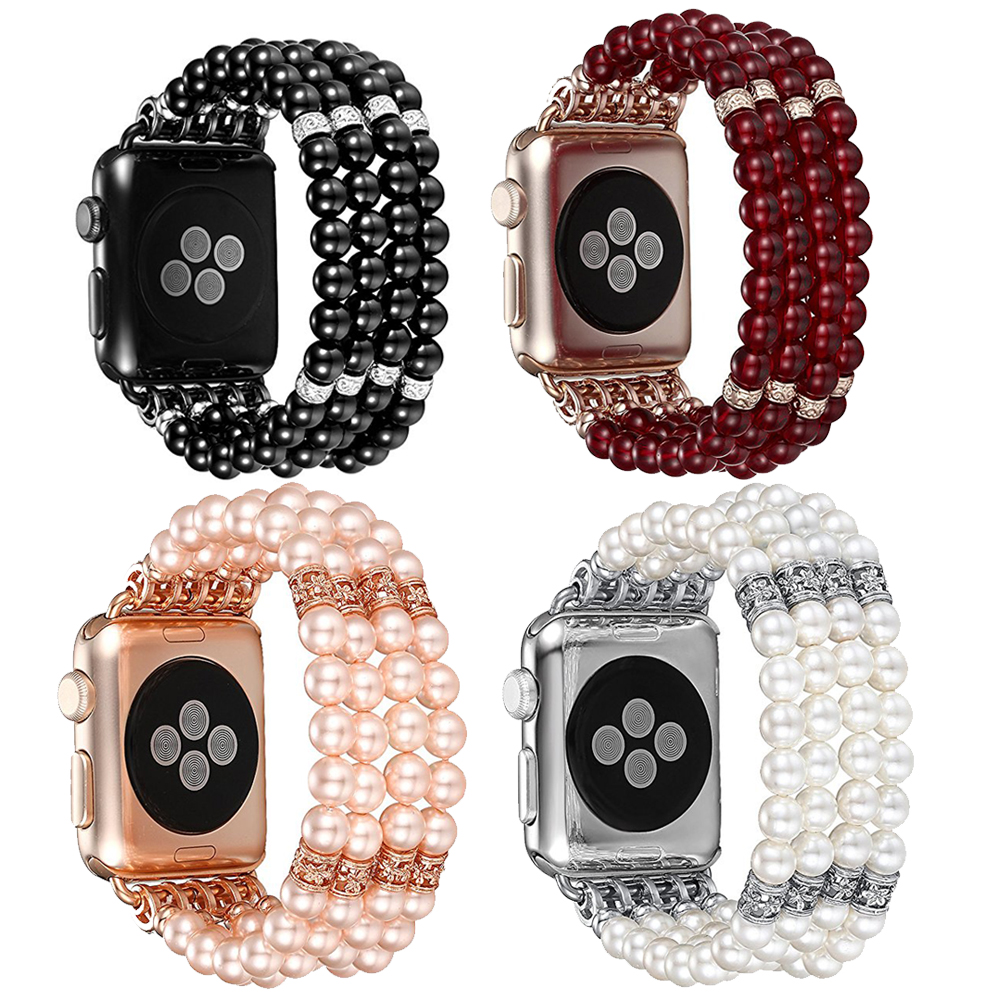 Watch Band for Apple Watch 42mm, Fashion Handmade Beaded Elastic Stretch Faux Pearl Bracelet Women for Apple Watch Series 3/2/1 sweet rhinestone and faux pearl embellished floral double layered bracelet for women
