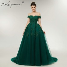 ФОТО  A-line Off the Shoulder Sleeveless Beaded Lace Tulle Appliques Evening Dresses  Long mal Party Gown Robe De Soiree