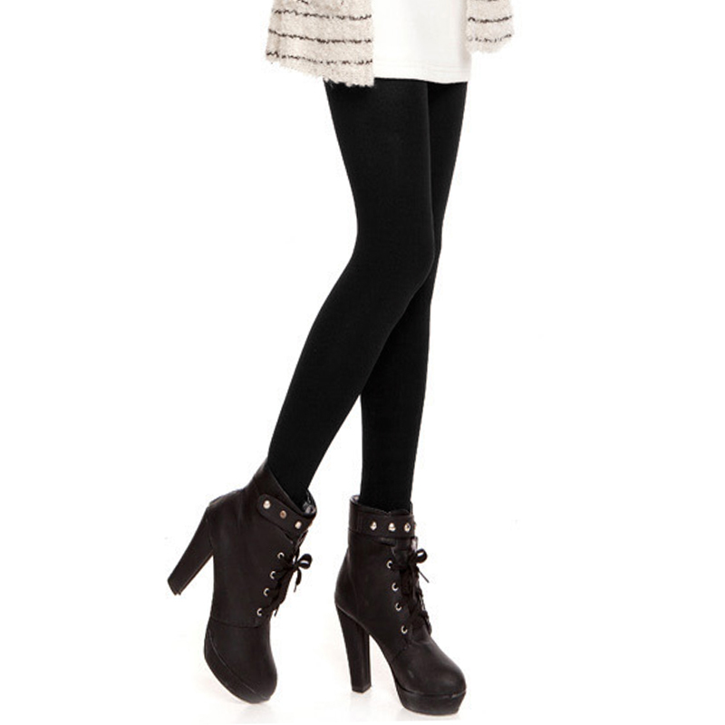 1410980cca46a Women 120D Microfiber Thermo Fleece Lined Tights Thermo Pantyhose Solid  Black Color Super Stockings Warm Winter Collant