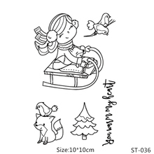 AZSG Cheerful Girl Cute Fox Bird Pine Clear Stamps/Seals For DIY Scrapbooking/Card Making/Album Decorative Silicone Stamp Crafts