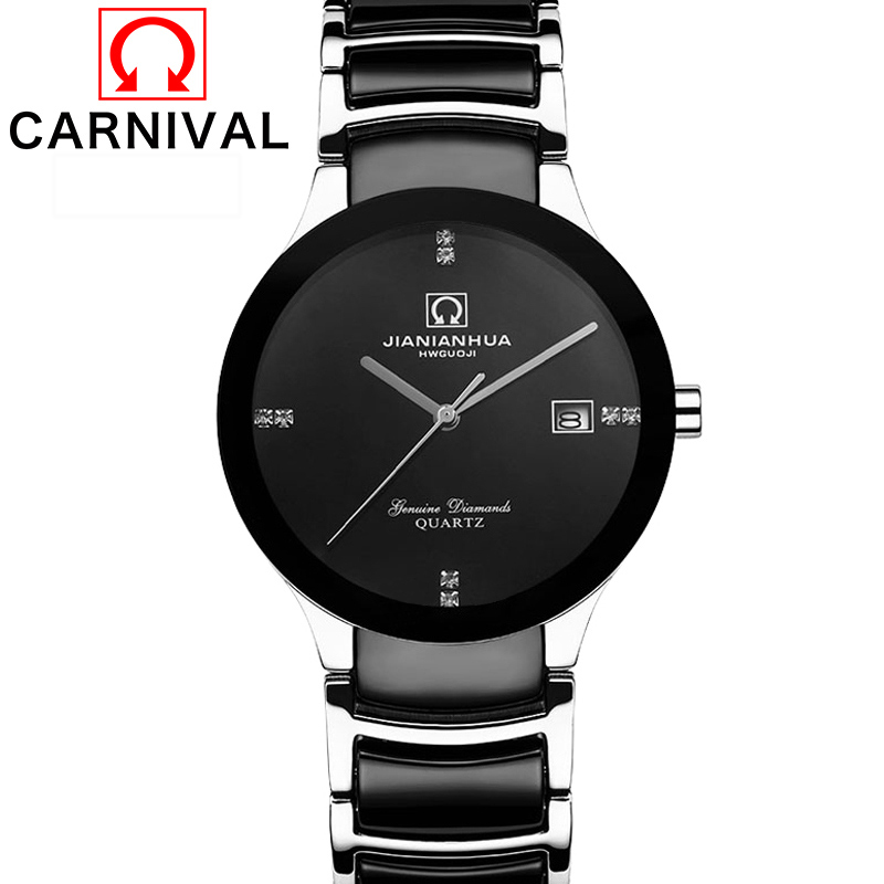 Carnival Watch Lovers' Quartz Diamond dial Waterproof Stainless Steel Black ceramic band Women Watches