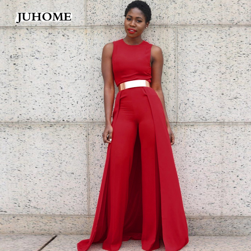 2017 New Autumn Women Jumpsuits Long Pants Sexy Red Slim Sleeveless Round Neck Romper St ...