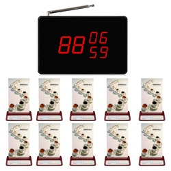 SINGCALL wireless pager calling system,Call Waiter Waitress Kitchen 1 screen display and 10 brand buttons for restaurant