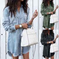 Frauen Shirts Casual V-ausschnitt Bluse Quaste Denim Top Damen Tunika Langarm Hemd Sommer Lange Tops Mode