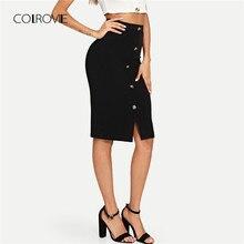 3fa6c7afb6 COLROVIE negro sólido trabajo botón frente elegante estilo Bodycon lápiz  falda Vintage Otoño de 2018 las mujeres faldas Midi clá.