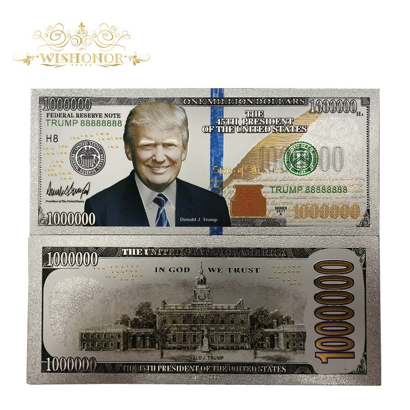 5pcs President Trump One Million Dollar 24k Gold Plated American Banknote Gifts