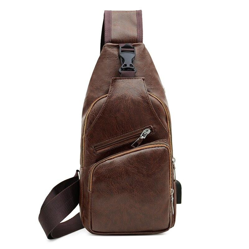 Men Chest Pack Messenger Sling Sport Travel Crossbody Shoulder Bag USB Charging Chest Phone Pouch Bag