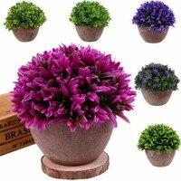12.9*14cm Artificial Fake Green Flower Pot Plant Lucky Grass Orchid Garden Desk Art Decors plantas artificiais