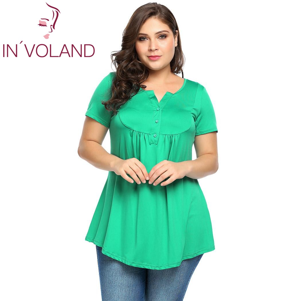 IN'VOLAND Women T-Shirts Top Plus Size Vintage Henley Neck Short Sleeve Pleated Tunic Feminino Party Tshirt Tee Top Full Sized patchwork short sleeve henley tee