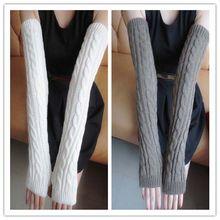 Женские длинные вязаные перчатки с хлопком, плотный Перчатки для женщин женские перчатки с крагами зимняя Осенняя мода Длинные Варежки