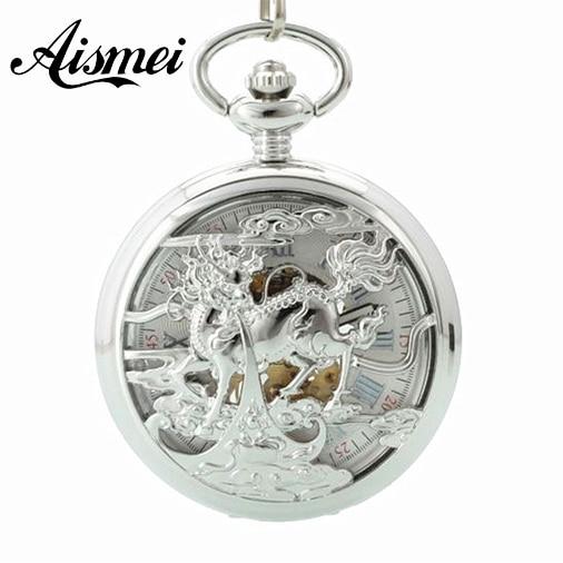 Fashion Silver Steel Steampunk Mechanical Pocket Watch Men Women Necklace Clock GIFT FOB Vintage Skeleton Kirin Pocket Watch