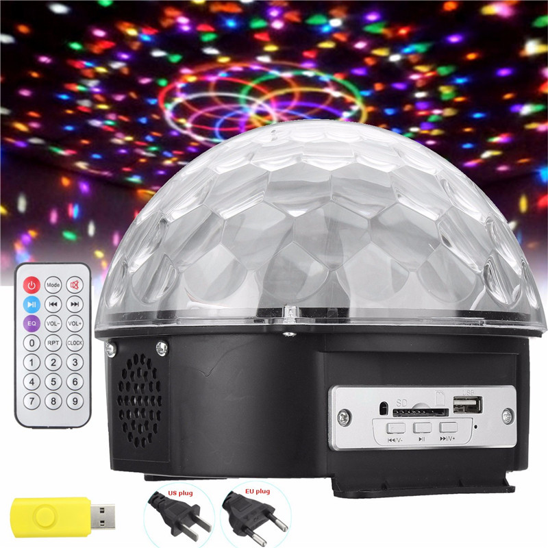 Crystal Magic Ball Led Stage Lamp Light Disco Laser Light Party Lights Sound Control Remote control Stage Laser 6 Colors 25W