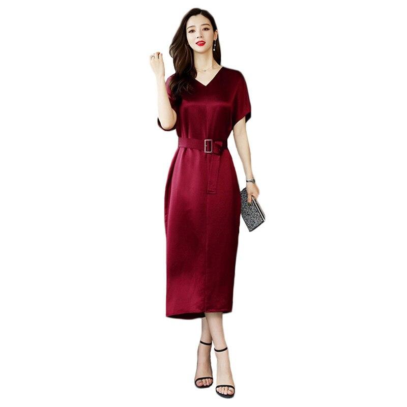 Robe de soirée femmes vin rouge noir M-2XL grande taille cuivre ammoniac soie 2019 nouveau été coréen bureau col en V Slim Maxi robe CX863