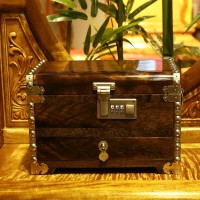 Tooarts High Quality Phoebe Treasure Chest Jewelry Box Ebony Jewelry Box Mirror Box Dressing Cabinet Wood Furniture and Ornament