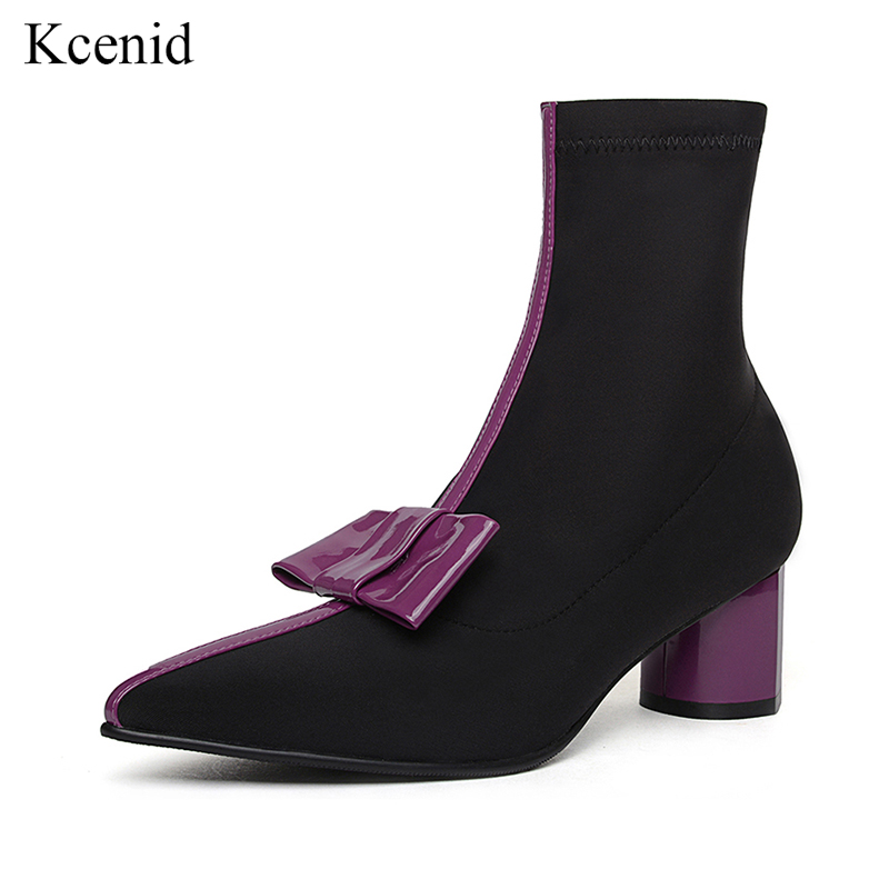 Kcenid 2018 New stretch fabric runway ankle boots purple yellow bowtie pointed toe stretch boots low