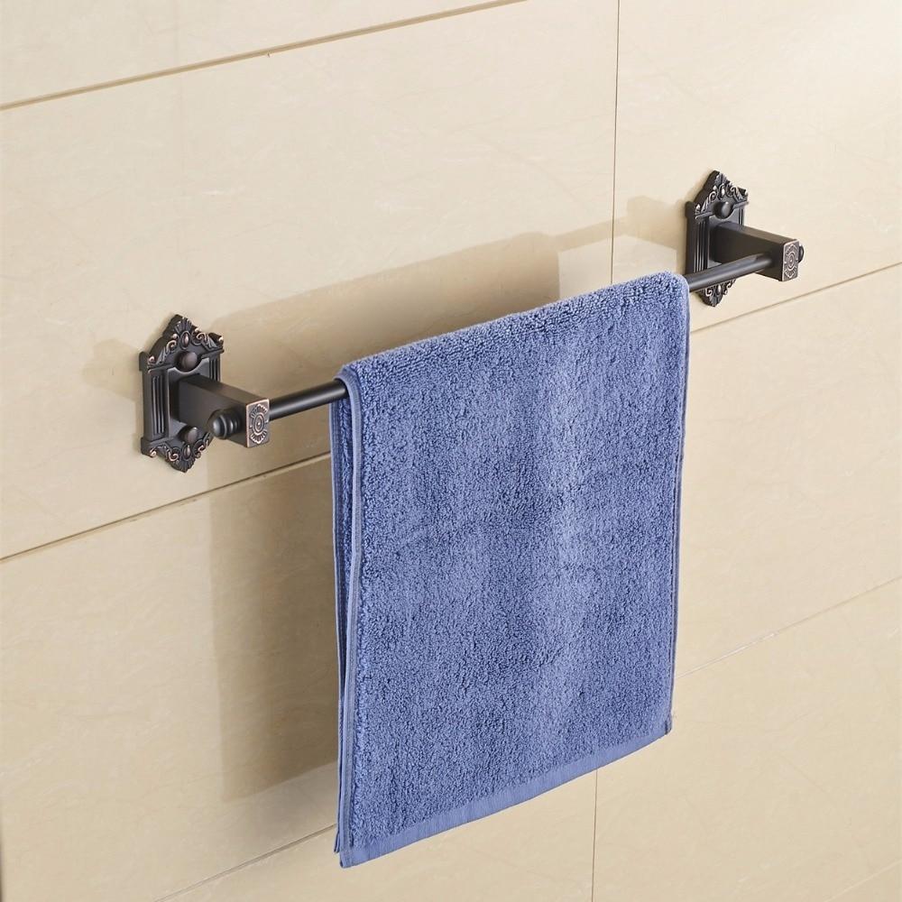 Towel Bars Single Rail Antique Solid Brass Wall Shelf Towel Rack Hanger Bath Shelves Bathroom Accessories Towel Holder 9127K