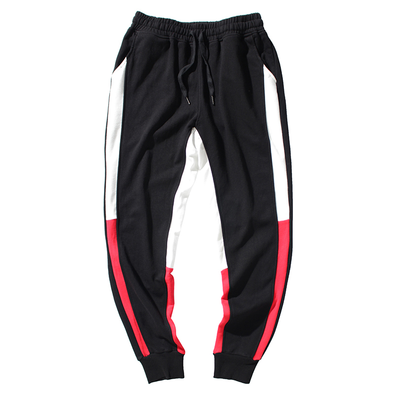 Fashion Streetwear Men Casual Pants White Red Side Stripe Spliced Designer Joggers Pants Slack Bottom Hip Hop Sweatpants Men