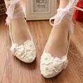 Encaje blanco Rhinestone Zapatos de Novia de la Boda pregnantwith Vestido del vendaje Arco Zapatos de Tacón Bajo de Las Mujeres 3 cm/5 cm/8 cm de Tacón Bombas