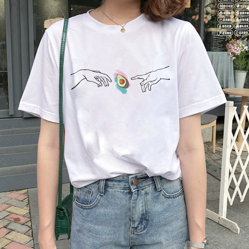 Harajuku Avocado Vegan   T     Shirts   Women Small Fresh Ullzang   T  -  shirt   Funny Cartoon 90s Tshirt Korean Style Graphic Top Tees Female