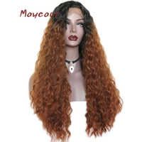 1bt30 Color Loose Curly Synthetic Lace Front Wigs Free Part Long Hair Wig For Women 180 Density