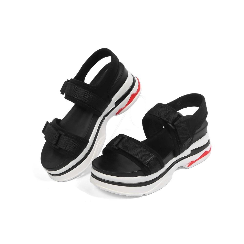 Lenkisen breathable silk pig leather solid med heels hook&loop summer holiday sand high street fashion women leisure sandals L79