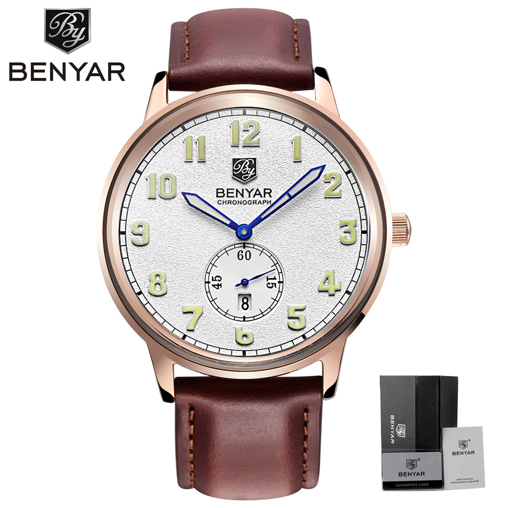 BENYAR Mens Watches Business Quartz Watch 3ATM Waterproof Genuine Leather Luxury Man's Wristwatches Thin Dial Fashion Male Clock new chenxi brand dial male clock hours hand date black leather straps mens quartz wrist watch 3atm waterproof wristwatches man
